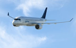 Bombardier CS100 seen in Porter Airlines livery.