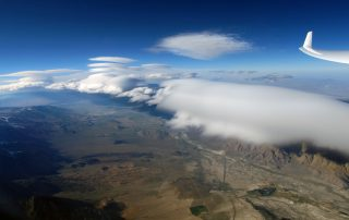 Lenticular clouds in wave, from 27,000 feet in a Kestel 17 glider near Lone Pine, CA - Photo: Gordon Boettger