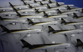 A fleet of UPS Boeing 757 models ready for inspection. Photo: Herpa Wings