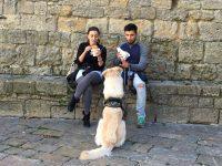 Sharing lunch in Volterra