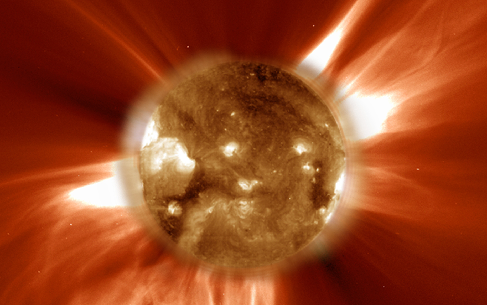 This ultraviolet image from the sun-orbiting SOHO spacecraft shows the sun during a solar storm. Image: NASA/JPL