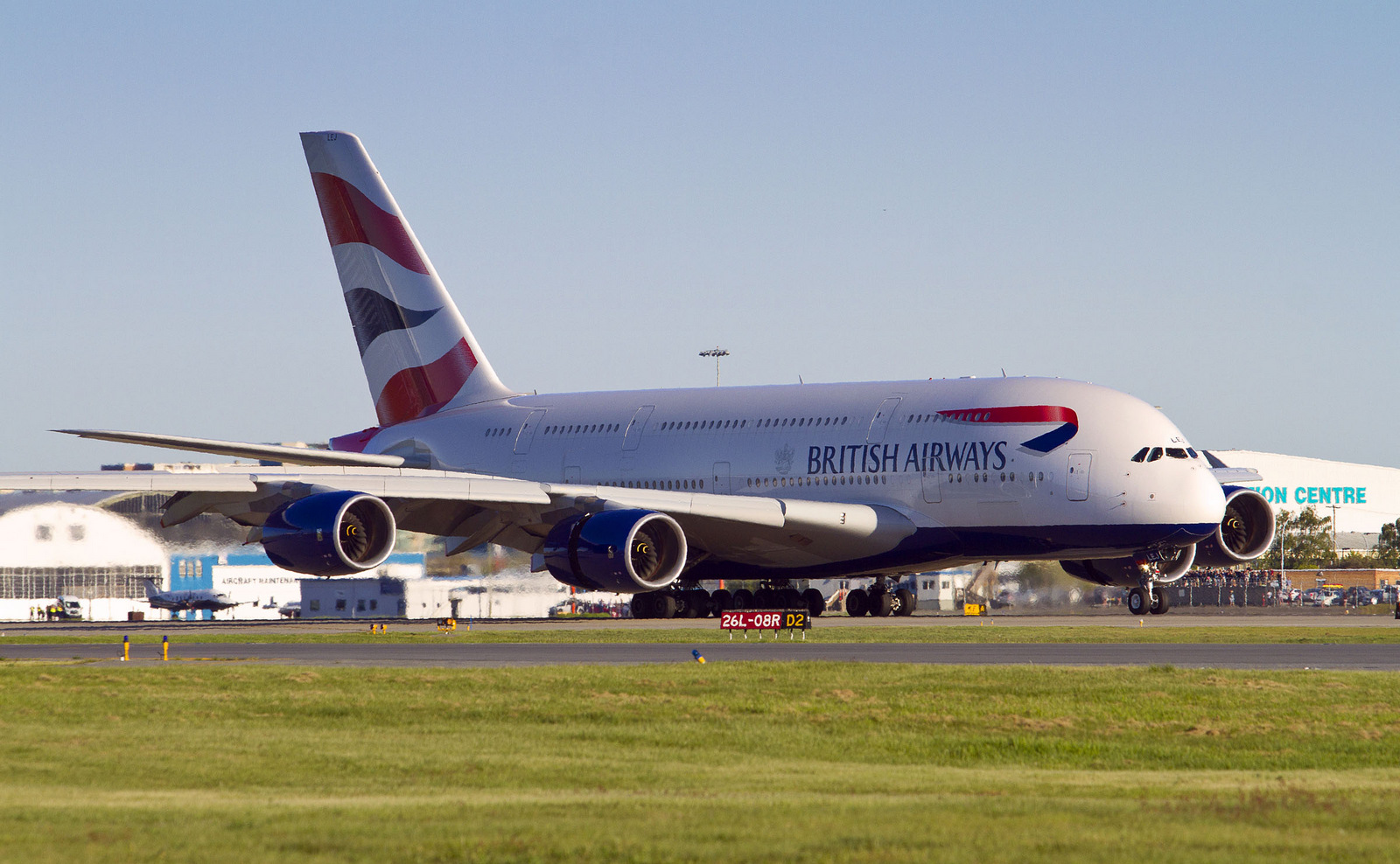 British Airways flight BA85 rolls out on YVR's Rwy 26L – the first scheduled A380 in Vancouver – Photo: Leighton Matthews | Pacific Air Photo