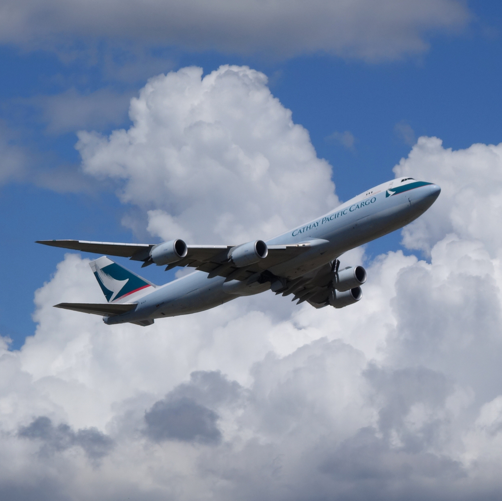 Cathay Pacific 747-8F climbs out at YVR