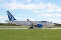 CSeries FTV1 taxies in after its first flight