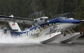 Twin Otter - Series 400 on amphibious floats - check out the prop vorticies! Photo: Viking Air
