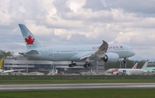Air Canada's first 787-8 flares for landing, after its first short test flight. Photo: Barry Evans