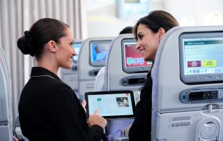 Emirates uses an HP tablet with its Knowledge-driven In-flight Service (KIS) System app. Photo: Emirates