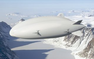 LHM-1 over an ice covered fjord on Baffin Island with Davis Strait in the back. Image: Lockheed-Martin