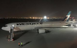 WestJet's first 767 arrives at Calgary YYC.