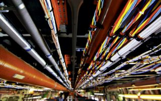 Rainbow-colored cables inside an Airbus A380. Photo: APEX