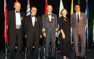 Canada's Aviation Hall of Fame 2017 inductees include Rogers Smith, left, Robert Deluce, Fern Villeneuve (representing the RCAF Golden Hawks), the late Erroll Boyd (represented by his nominator, Jean Butters) and Daniel Sitnam.