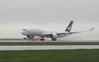 At least I got THIS great shot! Cathay Pacific A350 rotates on the return flight from YVR to HKG.