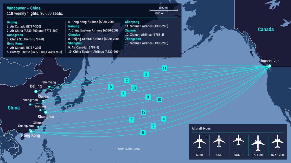 Weekly flights between YVR and China/Hong Kong. Graphic: CNN