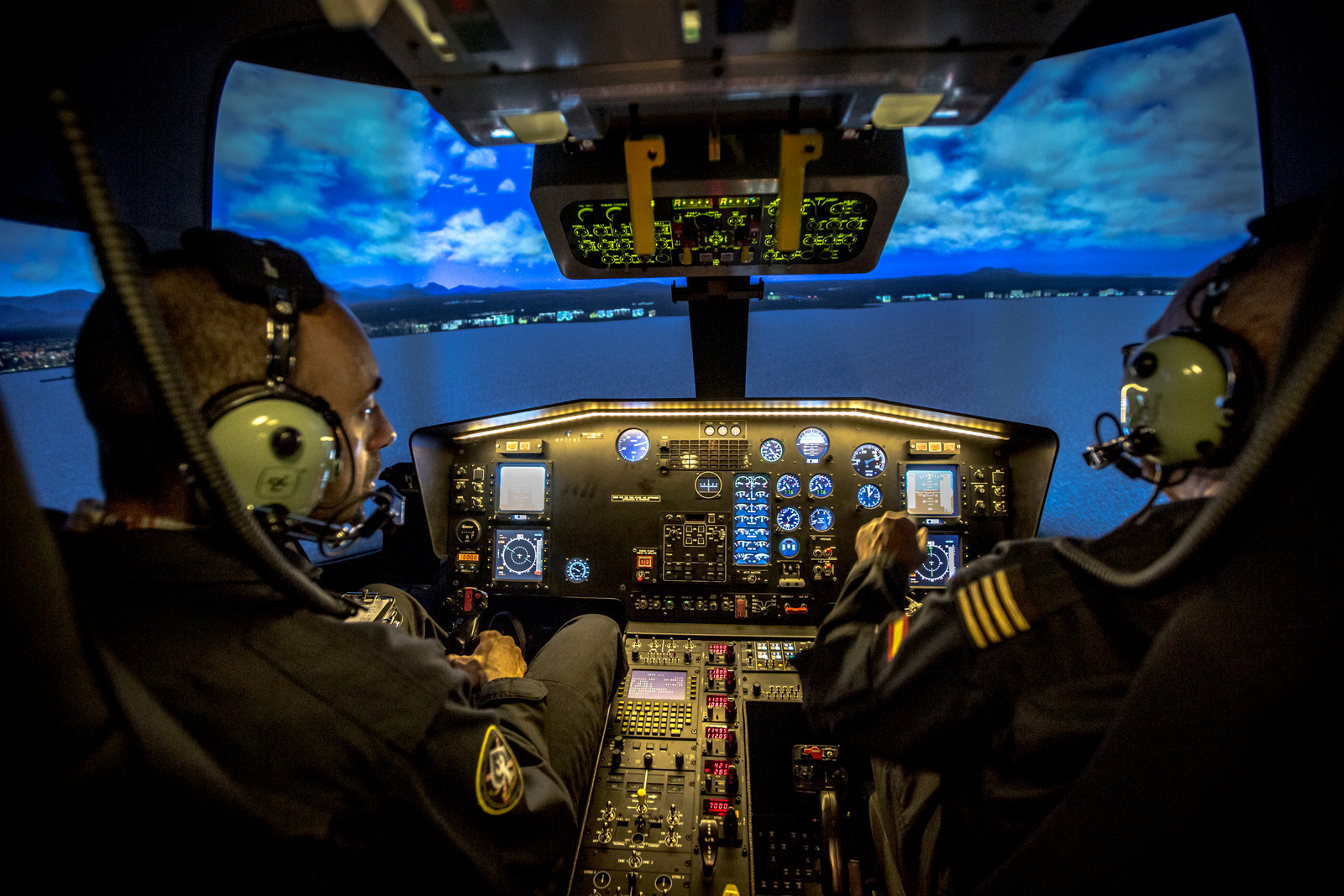 The graphics in this Entrol helicopter simulator are remarkably realistic. Photo: Entrol