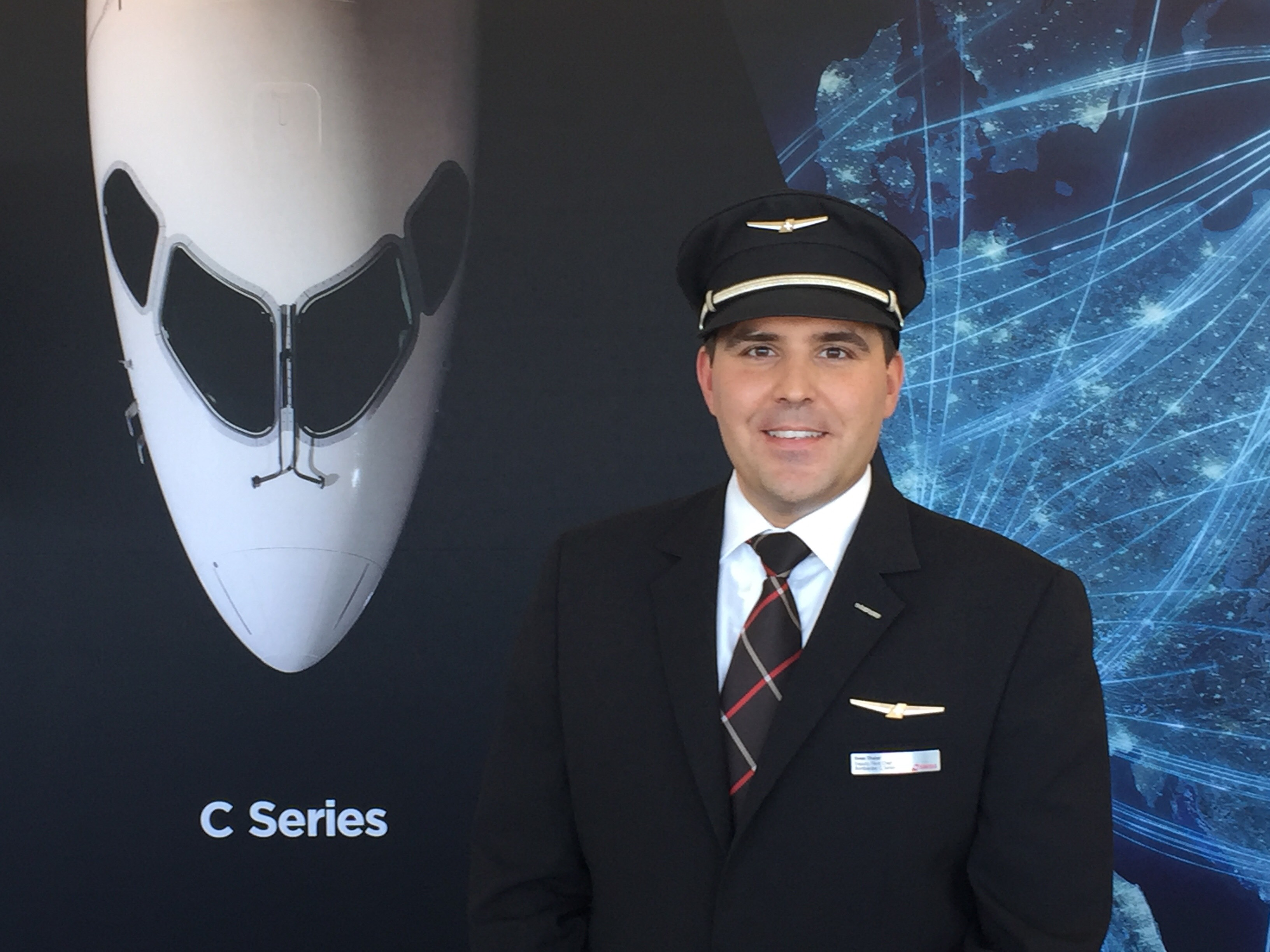Captain Sven Thaler, director, deputy fleet chief Bombardier C Series, SWISS, at Bombardier's Aero Perspectives media event.