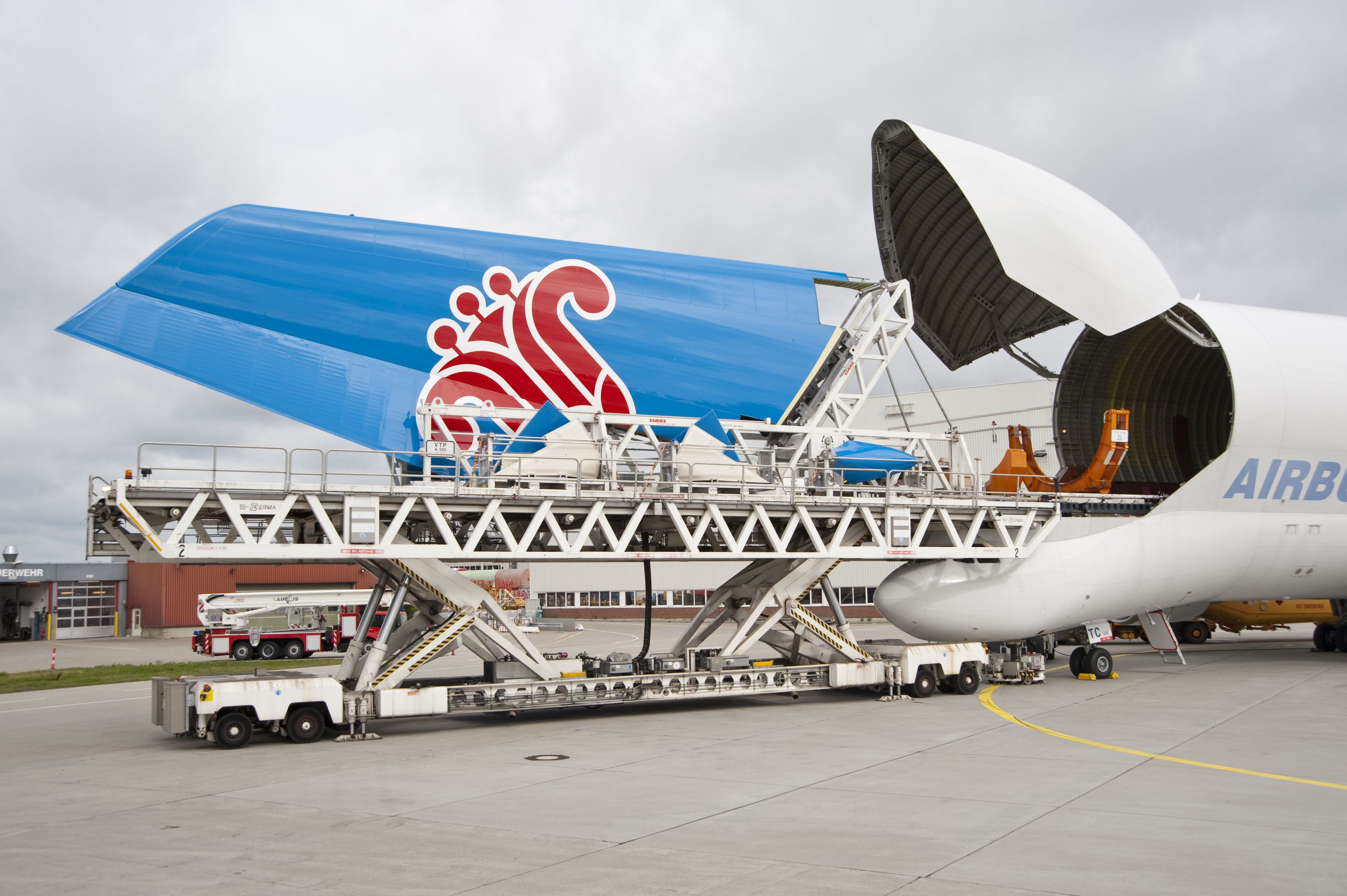 An A380 vertical fin is loaded into a Beluga cargo plane. Photo: Airbus