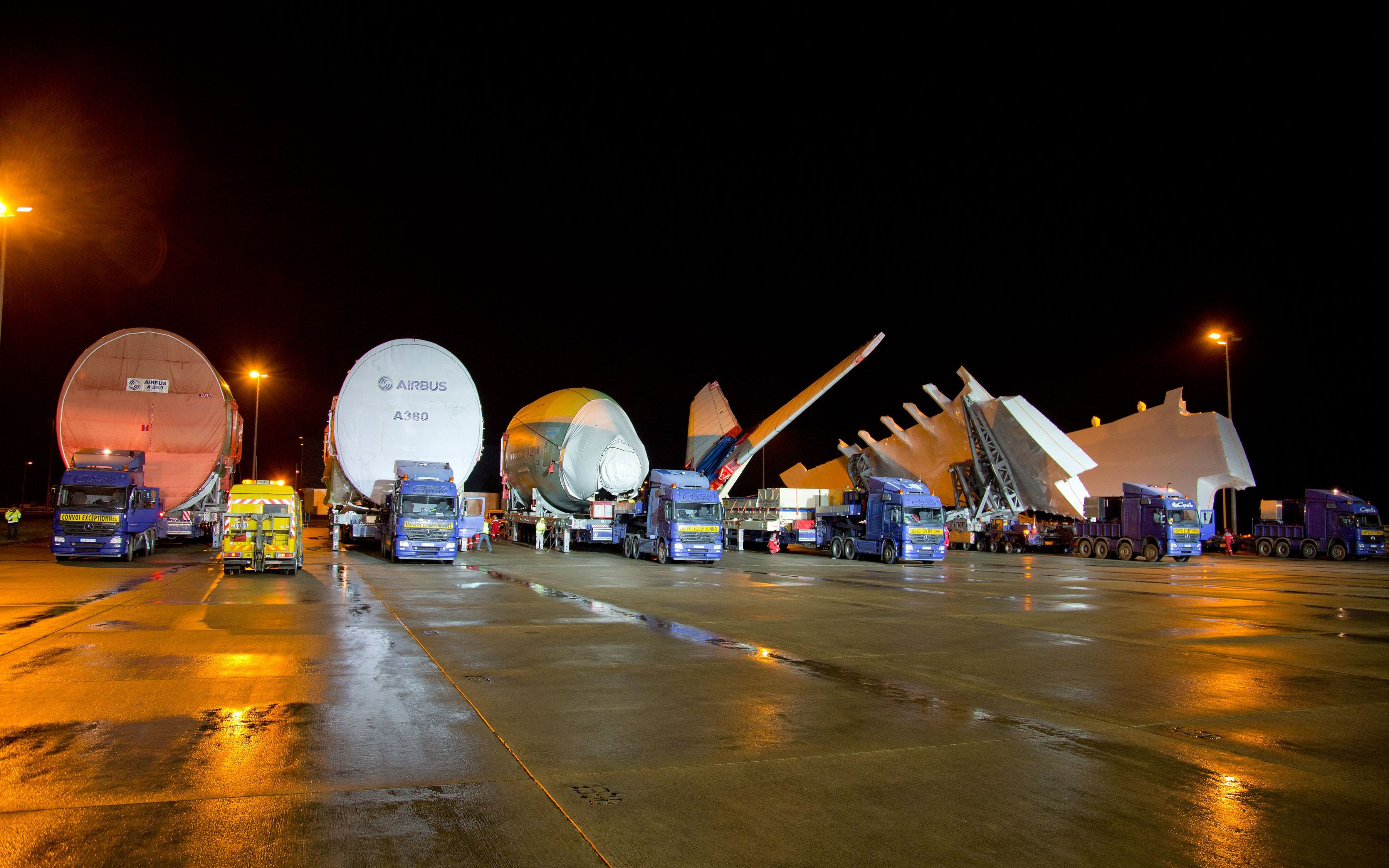 These huge airplane parts are on their way to becoming an A380, the world's largest passenger airliner. Photo: Airbus