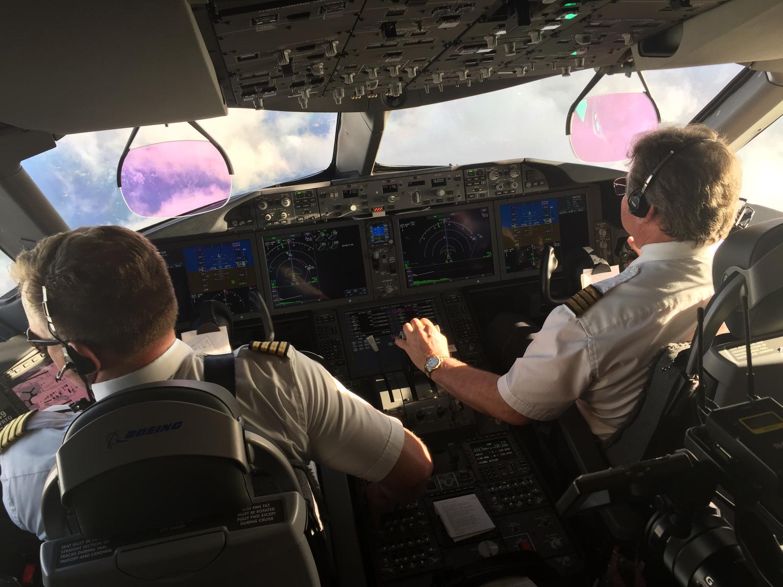 Captain Dave Butler handled comms, while Captain Mark Watt hand-flew the Dreamliner.