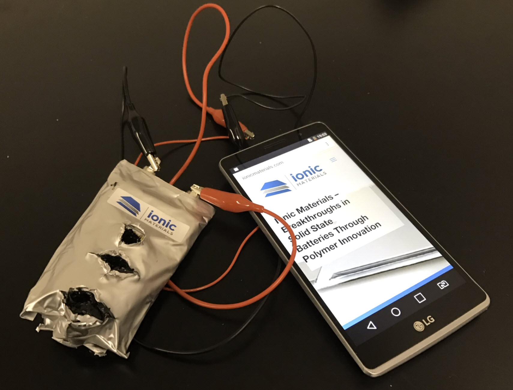 An Ionic Materials Li-Ion battery pack, full of bullet holes, still safely provides power to a device. Photo: Ionic Materials