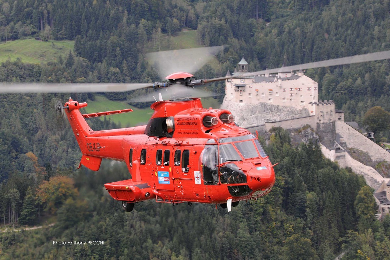 The company's Super Pumas have flown a variety of missions since joining the Heli-Austria fleet, including firefighting, construction, and long line operations. Photo: Anthony Pecchi