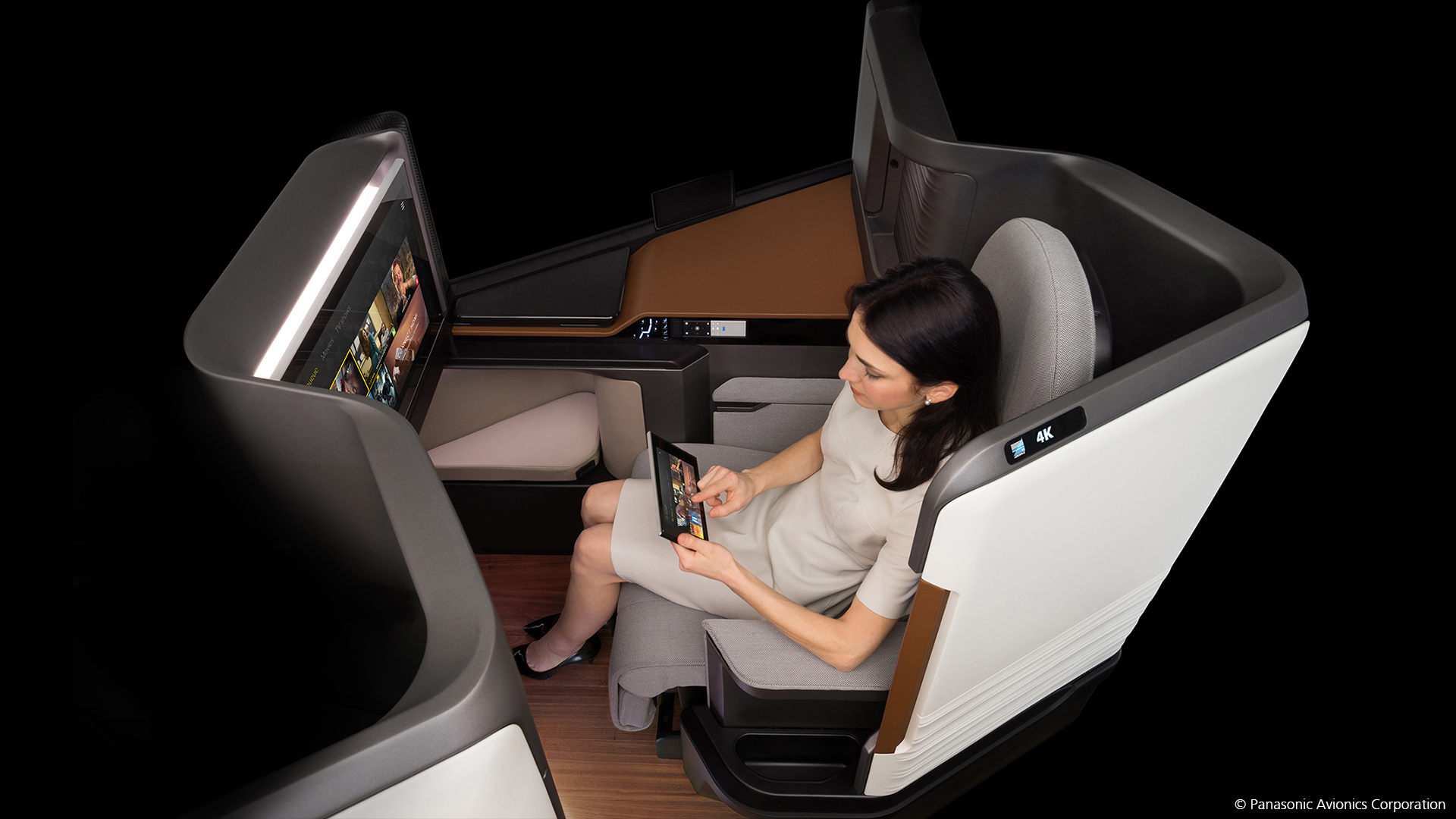 Panasonic Avionics' Waterfront seating system includes a wireless IFE controller. Photo: Panasonic Avionics