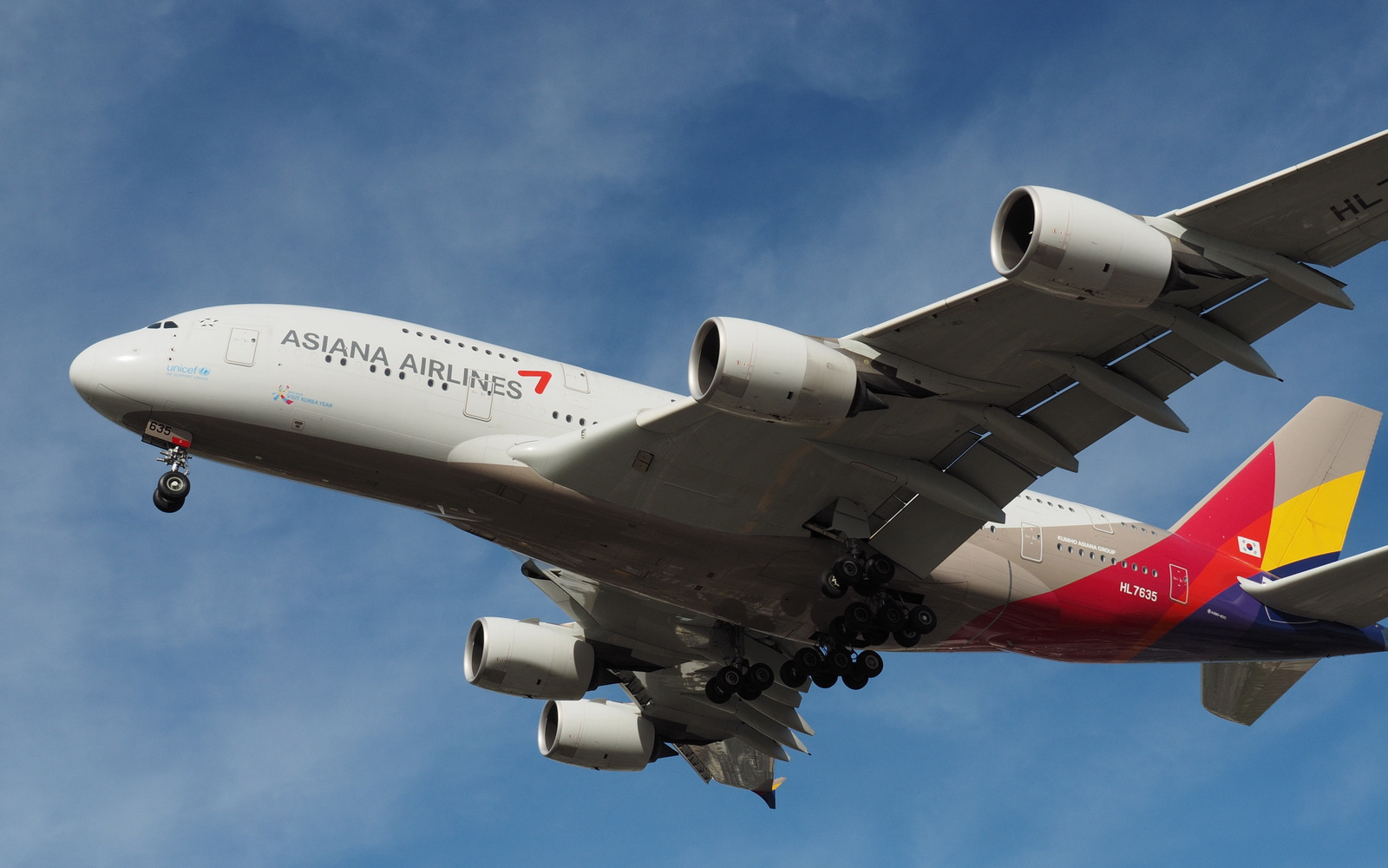 An Asiana Airlines A380 on short final at LAX.