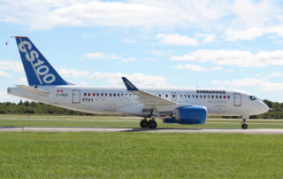FTV1, the first Bombardier C Series test aircraft, completes its first flight in September 2013. The aircraft program became the Airbus A220 in July 2018.