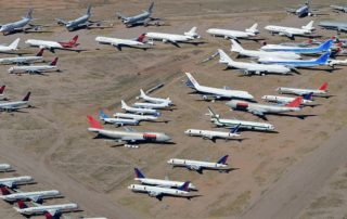 Pinal Air Park in 2014, with a mix of stored aircraft and planes being recycled. Photo: Alan Wilson | Wikicommons