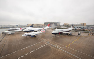 The British Airways retro-jets gather on a rainy day at Heathrow Airport. Photo: British Airways