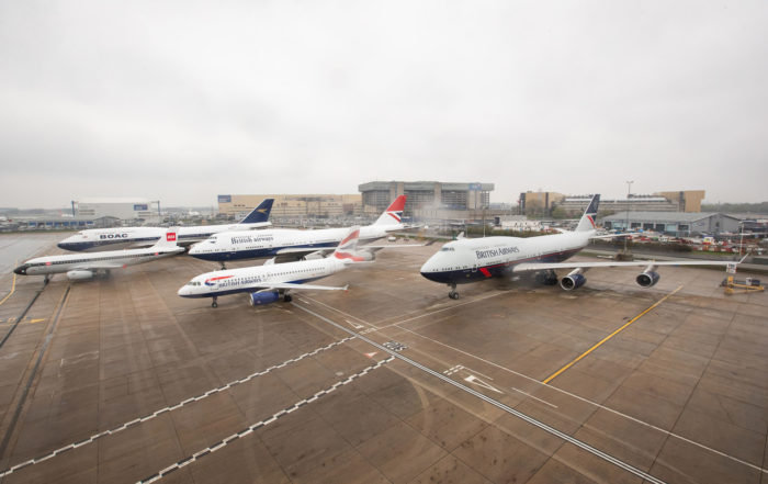 The British Airways retro-jets gather on a rainy day at Heathrow Airport. Photo: British Airways