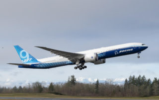 Boeing 777-9 lifts off on its first flight at Paine Field.