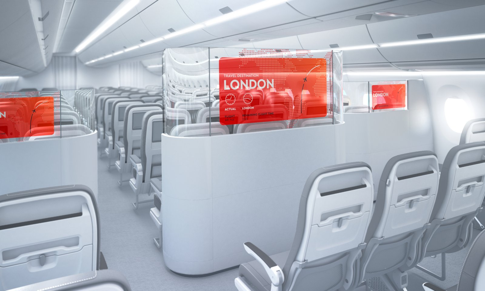 AERQ's OLED transparent cabin divider is a first-of-its-kind product. Photo: AERQ
